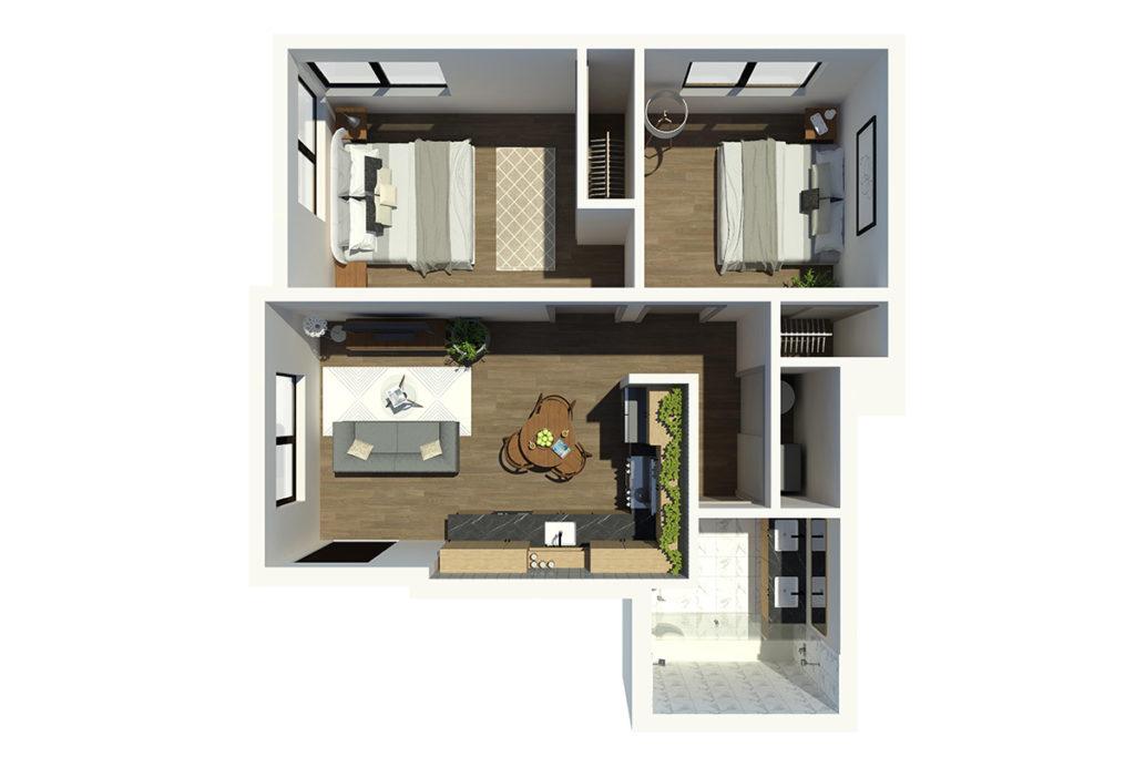 M63 2B1B 3D Floor Plan
