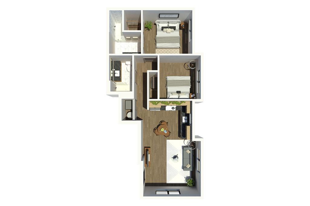 M63 2B2B 3D Floor Plan