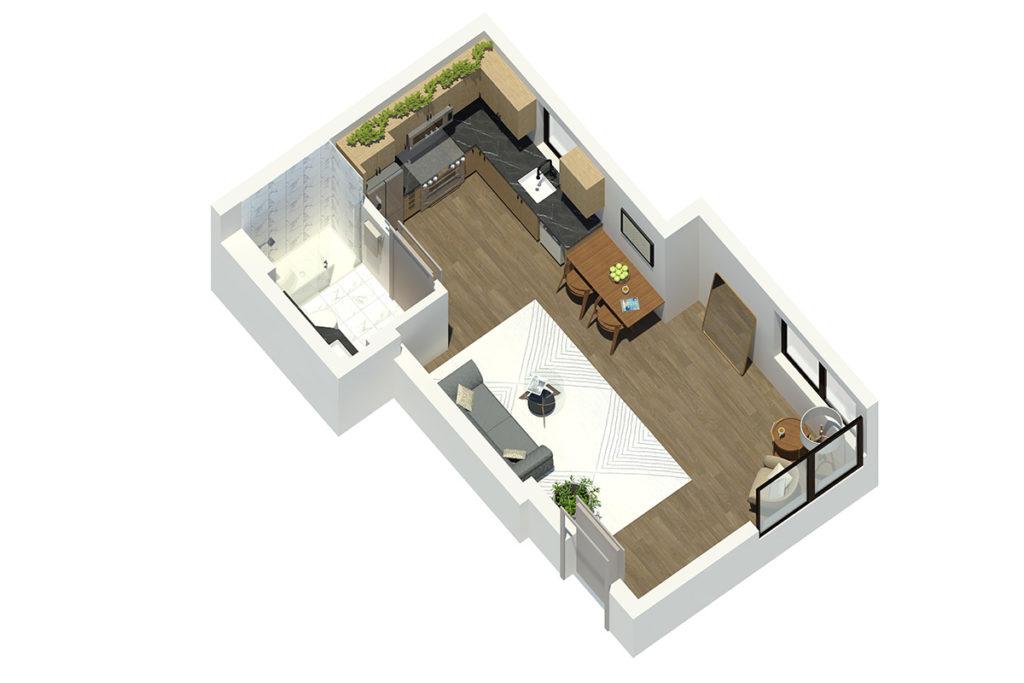 M63 Studio 3D Floor Plan