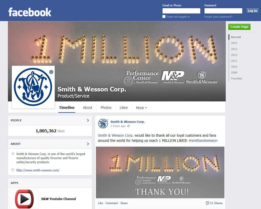 Smith & Wesson Facebook 1 Million Likes