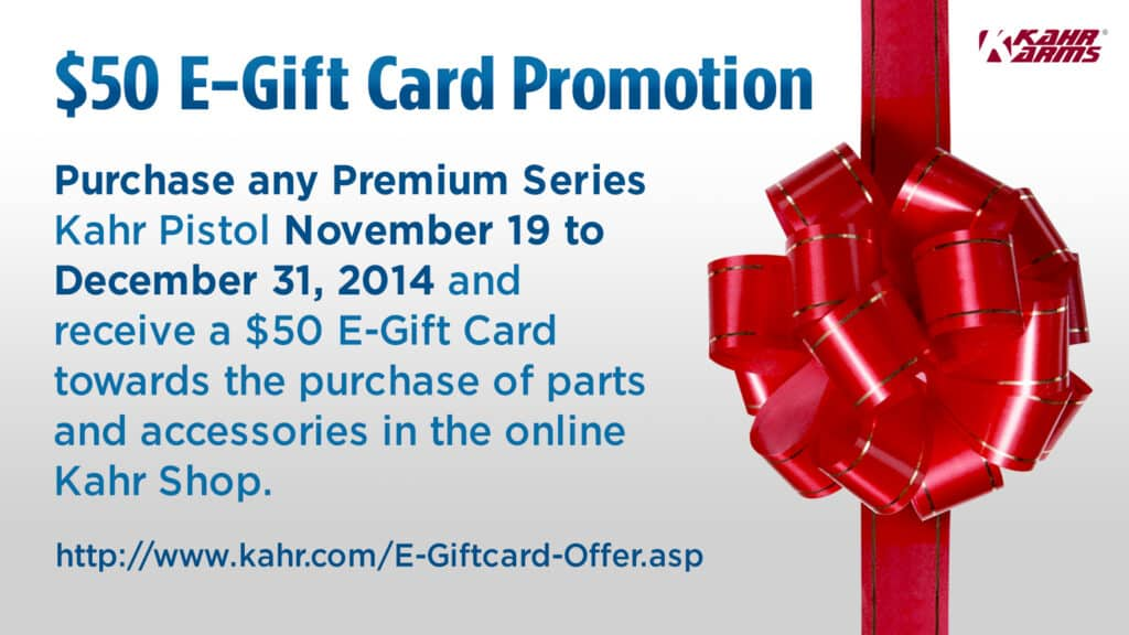 Kahr E-Gift Card Promotion