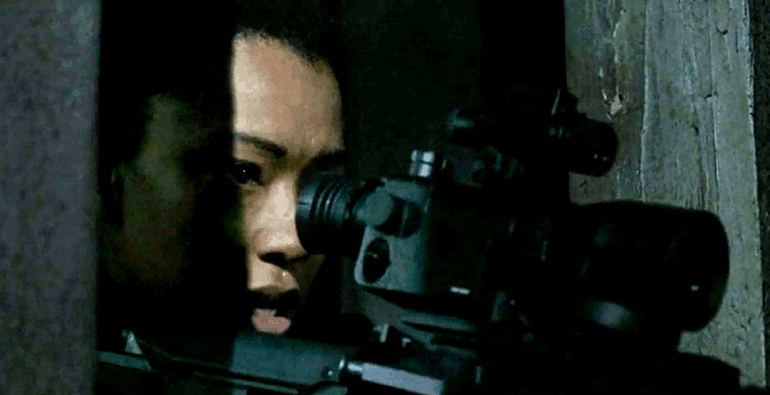 Sasha from The Walking Dead with the ATN Aries MK350 Guardian