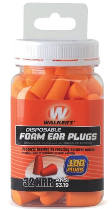Walkers Game Ear Foam Ear Plugs 100 Count Jar
