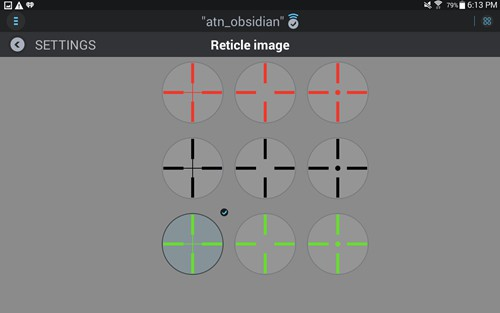 ATN X-Sight Reticle Selection
