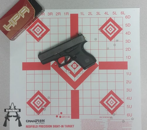 Glock 43 with HPR 9mm 115gr TMJ Ammo at 7 yds