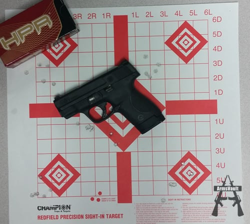 Smith and Wesson Shield with HPR 9mm 115gr TMJ Ammo at 7 yds