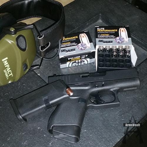 Glock 43 with Sig V-Crown 9mm 115gr JHP Ammo