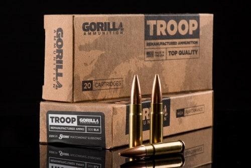 Gorilla Ammunition Troop Remanufactured Ammunition - 300 BLK 220gr Sierra Matchking Subsonic