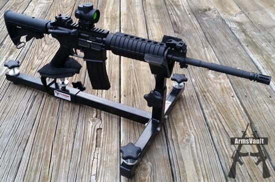 Windham Weaponry SRC with Trijicon MRO on CTK Precision P3 Ultimate Gun Vise
