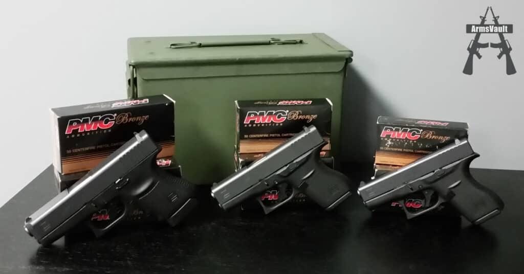 Glock Slimline Pistols with PMC Bronze Ammo