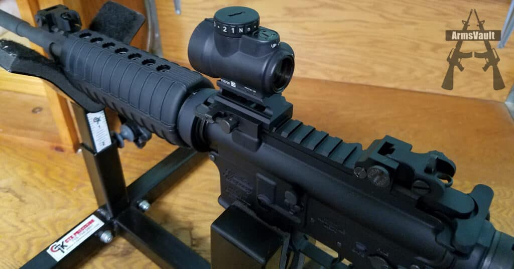Windham SRC with Trijicon MRO and Samson Mount and Quick Flip Sights - P3 Ultimate Gun Vise