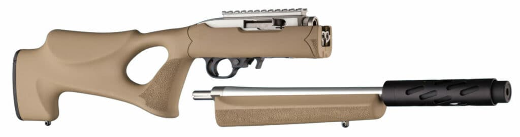 Hogue Flat Dark Earth Rifle Stock on Ruger 1022 Takedown