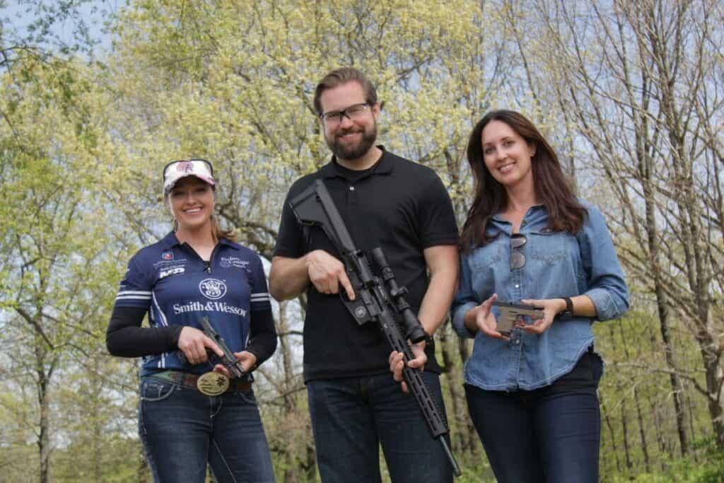 Julie Golob with GOG Hosts Aaron & Anne Marie