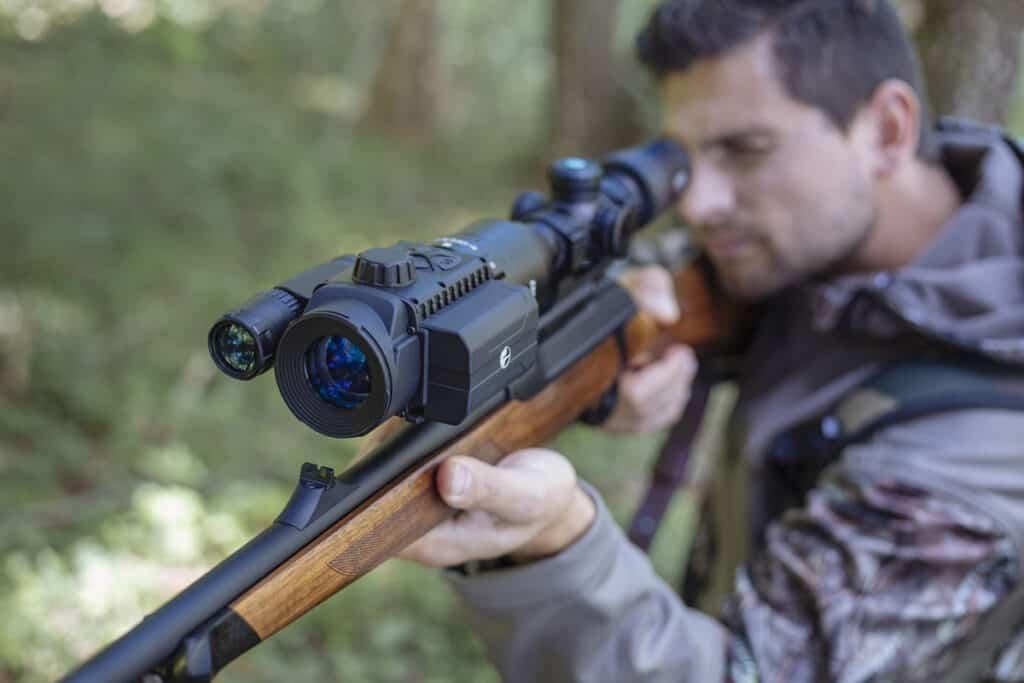 Pulsar Forward F Digital Night Vision Attachment on Rifle