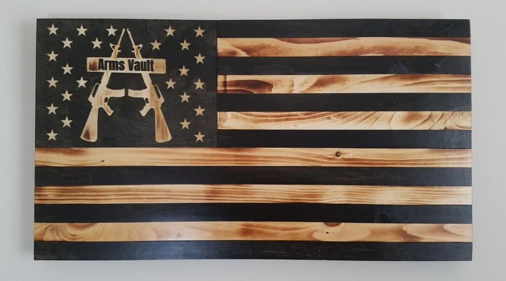 Custom ArmsVault Wood Flag by Jimmy The Maker