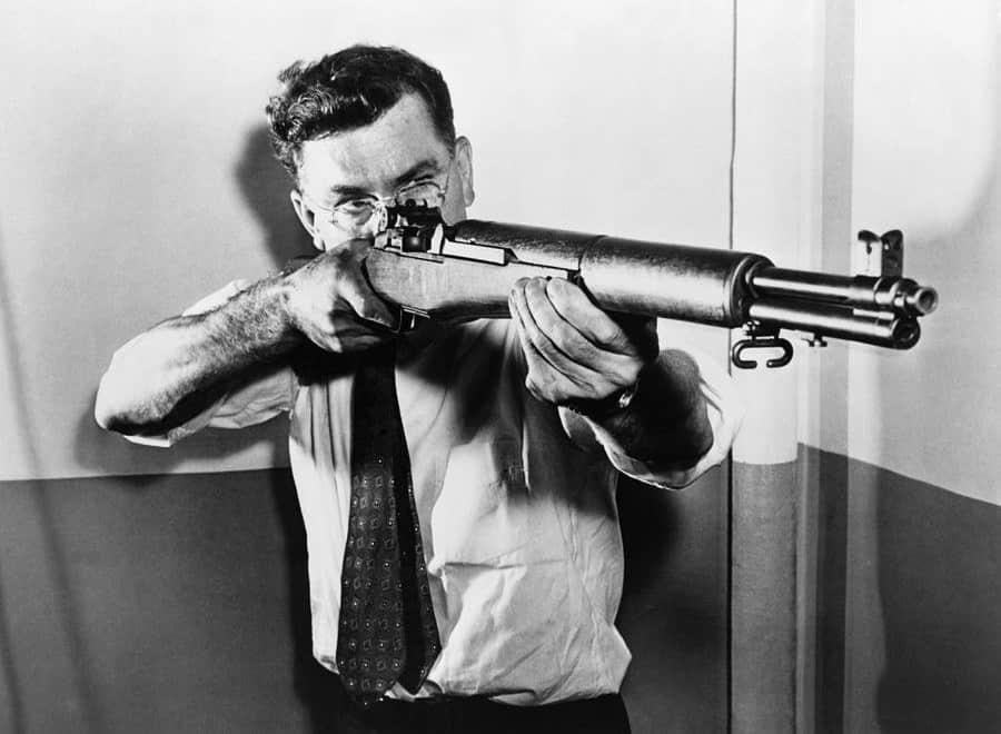 John Garand with the M1 Garand Rifle
