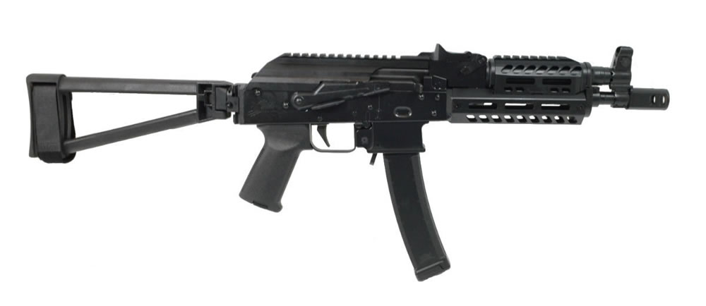 PSA AK-V 9mm MOE ALG Railed Triangle Side Folding Pistol - Black
