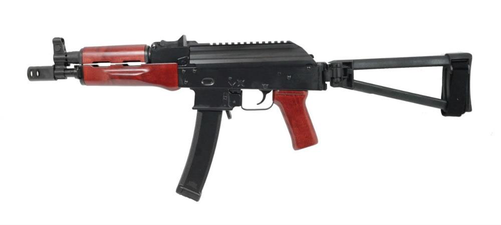 PSA AK-V 9mm Red Wood Triangle Side Folding Pistol