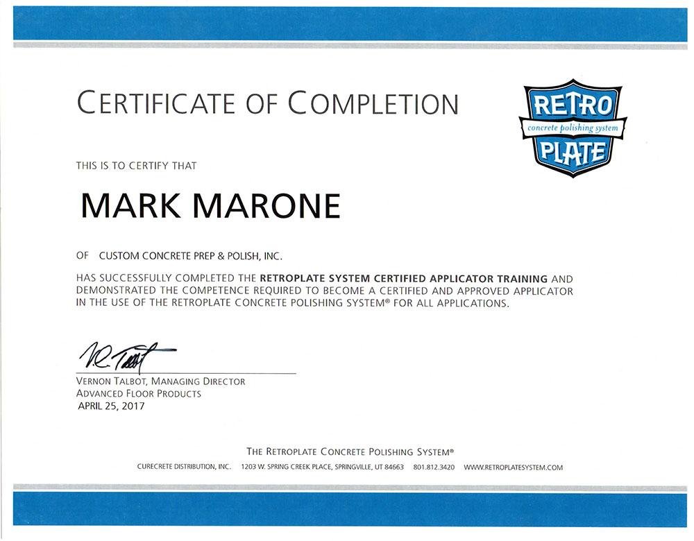 RetroPlate Certification