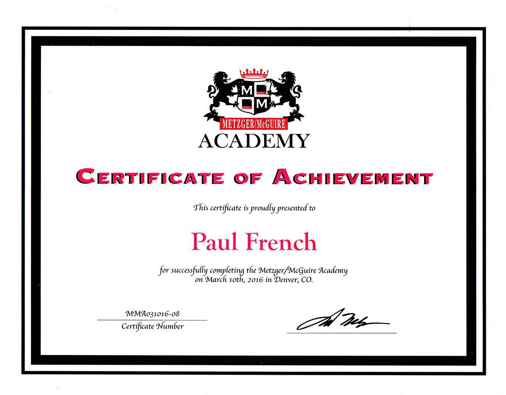 Metzger Academy Certification