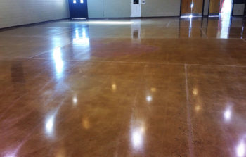 Burnishing polished concrete brings out the shine