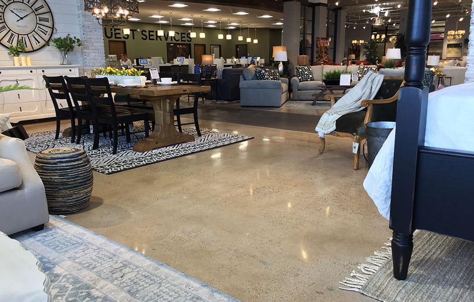 200 Grit Polish of The Showroom on Furniture Row Custom Concrete Prep and Polish