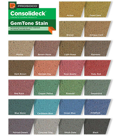 Consolideck GemTone Stain Color Chart Custom Concrete Prep and Polish