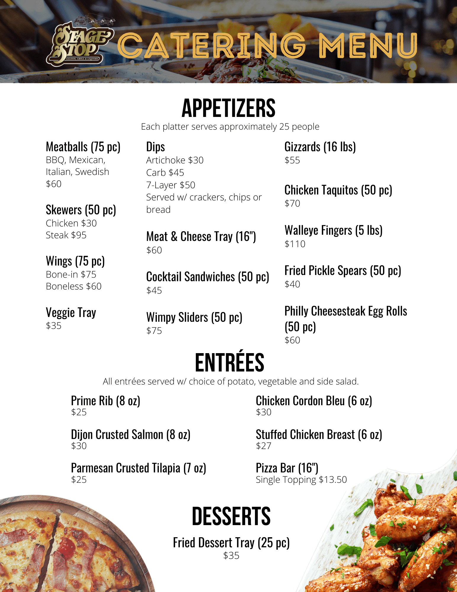 Stage Stop Catering Menu