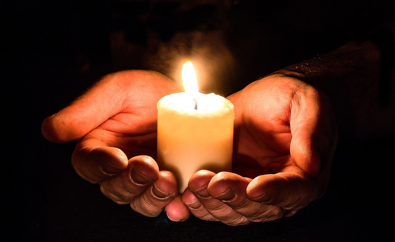 hands, open, candle