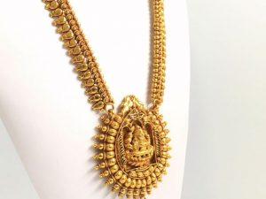 All Gold Lakshmi Sun Burst Haaram & Matching Jhumkas