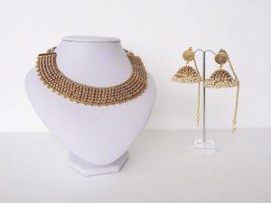Antique Collar Kemp Necklace & Broad Umbrella Jhumka Set