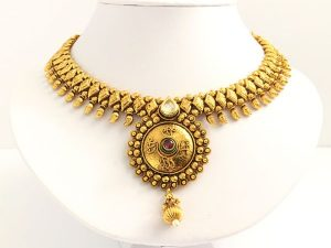 Antique Medallion Kundan & Rhodolite Accent Attigai with Matching Jhumkas
