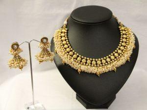 Antique Pearl Cluster Necklace & Jhumka Set