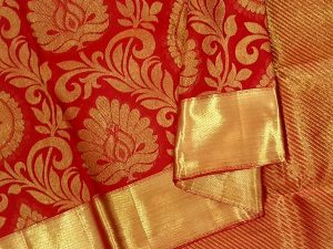 Bright Vermilion Red Large Motif Pure Kanchipuram Silk Saree