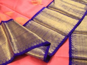 Bubble Gum Pink Handloom Pure Kanchipuram Silk Saree with Royal Blue Broad Border