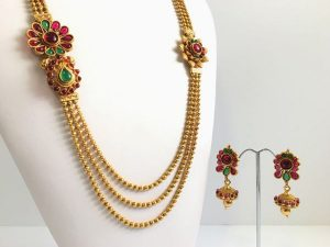 Double Side Pendants on Triple Ball Chain Haaram with Matching Jhumkas