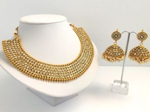 Elegant Stone Collar Necklace with Oversized Matching Jhumkas