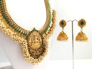 Grand Coin & Pearl Cluster Lakshmi Haaram with Matching Jhumkas (Green)