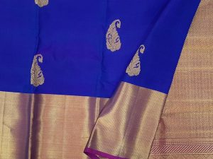 Iridescent Royal Blue & Jewel Purple Pure Kanchipuram Silk Saree