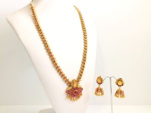 Kemp Lakshmi & Peacock Detailed Haaram with Matching Jhumkas