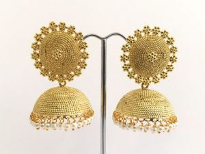 Large Gold Stippled Jhumkas