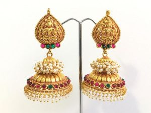 Large Opulent Temple Jhumkas with Pearl Cluster Detail
