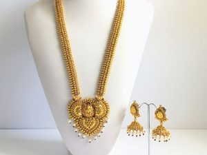 Large Vintage Inspired Lakshmi Haaram with Matching Jhumkas