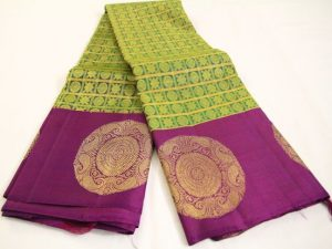 Lime Green & Purple Jacquard Pure Kanchipuram Silk Saree