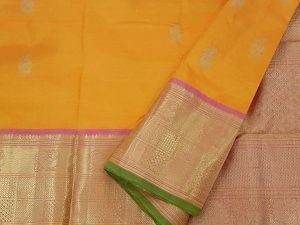 Mango Yellow, Onion Pink & Pistachio Green Pure Kanchipuram Silk Saree