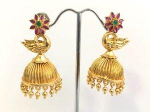 Matte Gold Floral & Swan Detailed Jhumkas