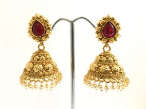 Medium Sized Antique Gold & Ruby Red Jhumkas