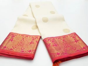 Off White & Peach Pink Pure Kanchipuram Silk Saree