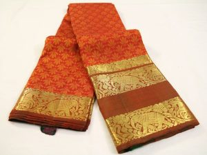 Orange Brocade Pure Kanchipuram Silk Saree