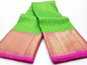Parrot Green & Hot Pink Handloom Pure Kanchipuram Silk Saree
